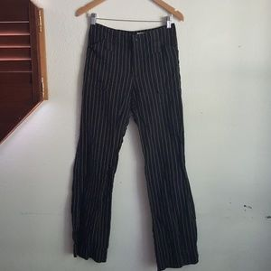 Zara Black High Rise Linen Striped Trousers Size 4